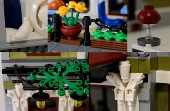 Alcuni dettagli di utilizzo creativo di elementi LEGO nel Parisian Restaurant
