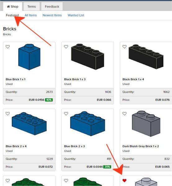 Il Nuovo Bricklink permette di visualizzare velocemente gli elementi in Wanted List